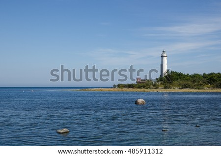 The lighthouse Lange Erik at the northern point of the swedish island Oland in the Baltic Sea