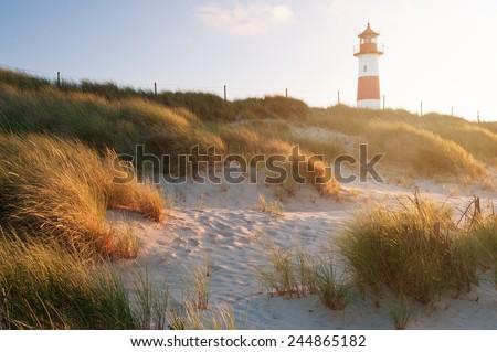 The Lighthouse List East on Sylt. - stock photo