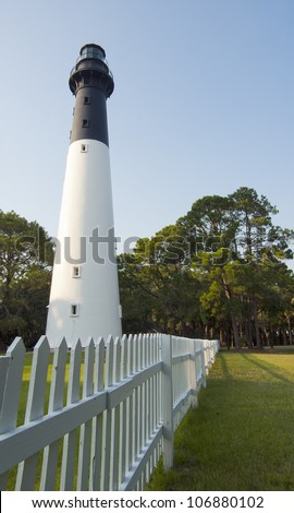 The lighthouse on Hunting Island State Park built in 1875.