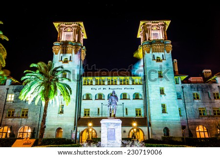 The Lightner Museum at night in St. Augustine, Florida. - stock photo