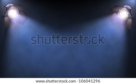 The lights illuminate the area where someone or something important is in the spotlight. His text or image in the center of the lights. - stock photo