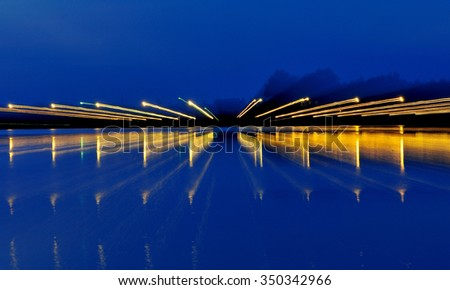 The lights of the city at night.Neon lighting.Abstract composition. - stock photo