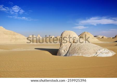 The limestone formation in Tent valley Desert, Sahara, Egypt - stock photo
