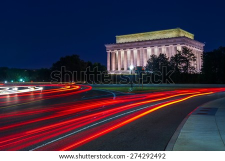 The Lincoln Memorial at the the National Mall in Washington, D.C.  - stock photo