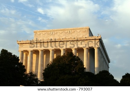The Lincoln Monument on a calm fall day. - stock photo
