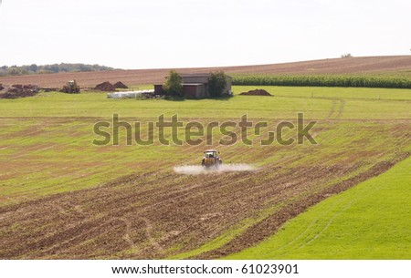 The liquid fertilizers on the  field. - stock photo