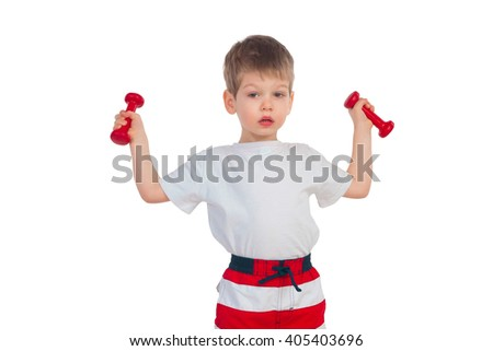 The little boy does exercises with two dumbbells on a white background - stock photo