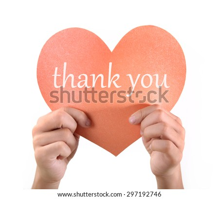 The little boy hand thank you CARDS   - stock photo