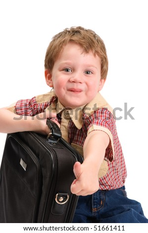 The little boy with a case on white