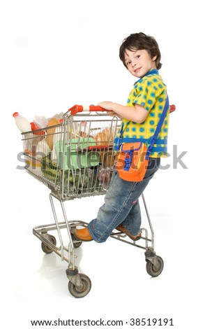 The little boy with cart for shoop - stock photo