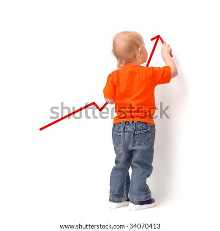The little child draws redden arrow upwards - stock photo