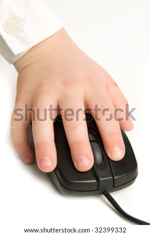 The little child  hand on mouse of computer