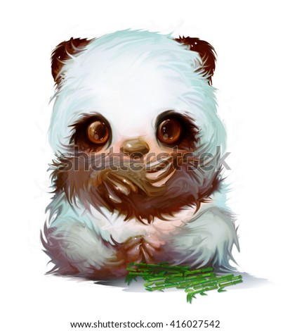 the little cute panda with green bamboo