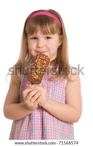 The little girl eats ice-cream - stock photo