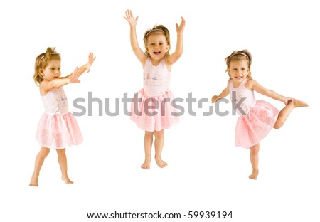 The little girl in a suit of the ballerina - stock photo