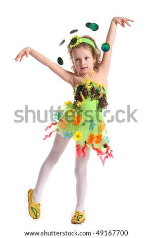 The little girl is in a suit of the butterfly on a white background - stock photo