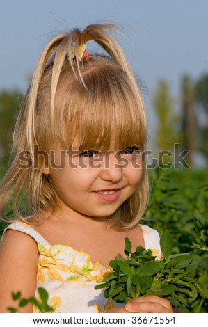 The little girl with a bouquet in field
