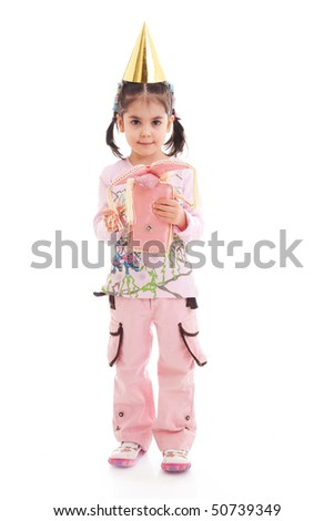 The little girl with a doll isolated on a white background