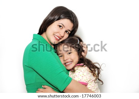 The little girl with mother on a light background - stock photo