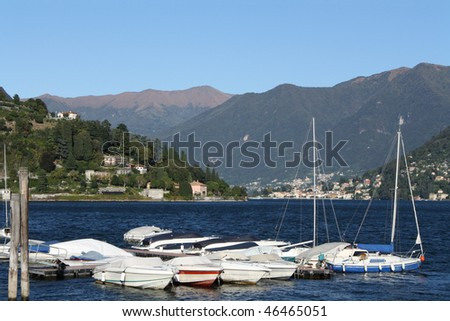 The little harbor in Cernobbio, a beautiful town stretched out along Como lake, in the North of Italy - stock photo