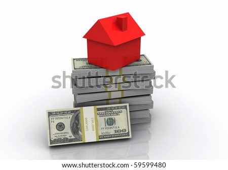 The little house and pack a hundred dollar bills - as a symbol of successful business - stock photo