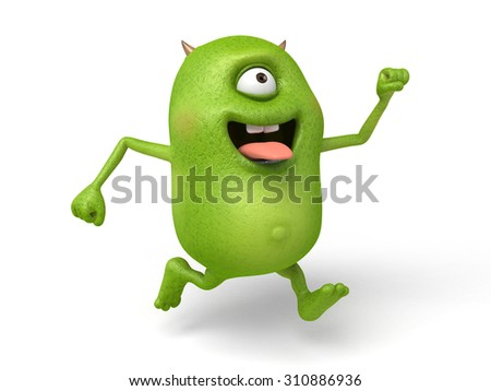The little monster, with the tongue running happily - stock photo