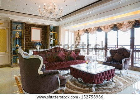 the living room with luxury decoration and nice furniture - stock photo