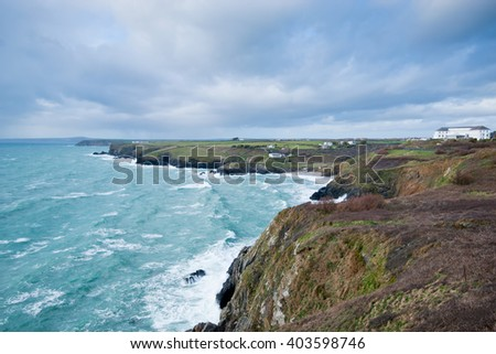 The Lizard coastline from cliffs above Mullion Cove in Cornwall