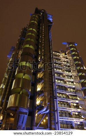 The Lloyds Tower in the City of London, England at night