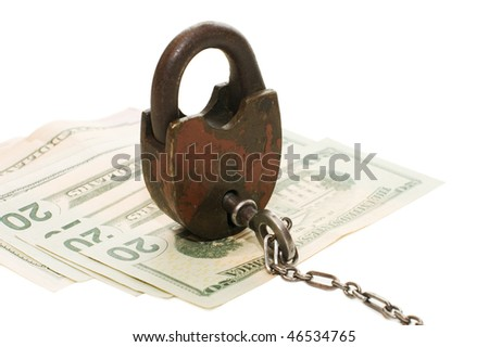 The lock on money isolated on white - stock photo