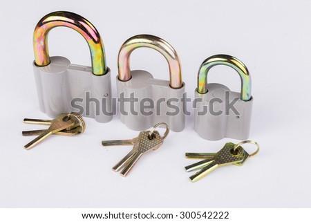 The lock on the door. the padlock. - stock photo