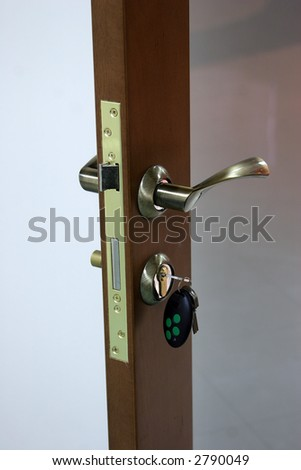 The lock with keys and the open door - stock photo