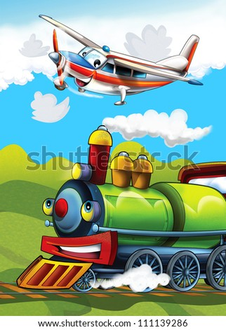 The locomotive and the flying machine - illustration for the children 10