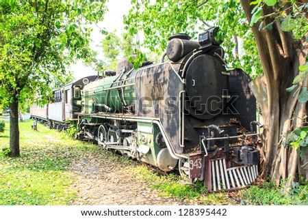 The locomotive old it show in garden - stock photo