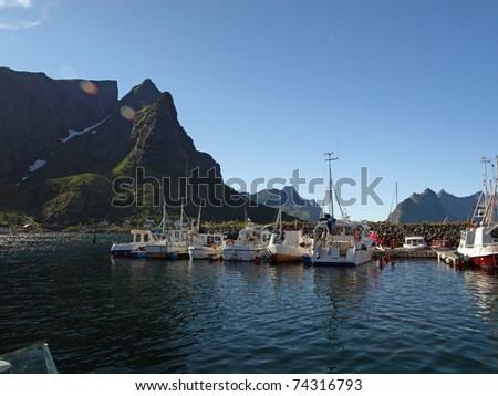 The Lofoten Islands in Norway-harbor