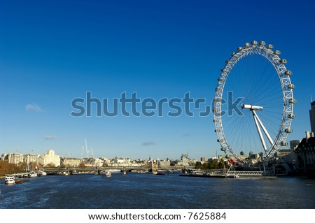 The London big wheel on the river Thames