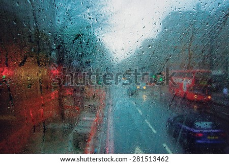 The London view through the window of a bus. - stock photo