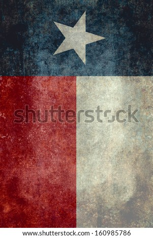 The Lone star flag of the lone star state of Texas - Vertical desaturated version - stock photo