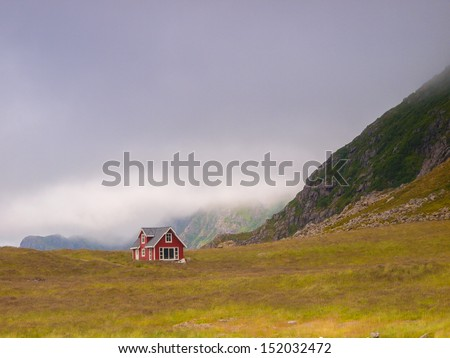 The lonely house on mountain in Norway - stock photo