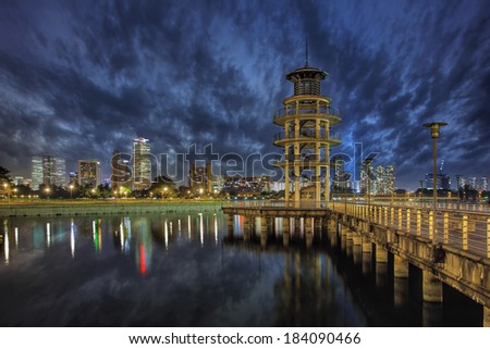 The Lookout Tower at Tanjong Rhu Housing District in Singapore at Blue Hour - stock photo