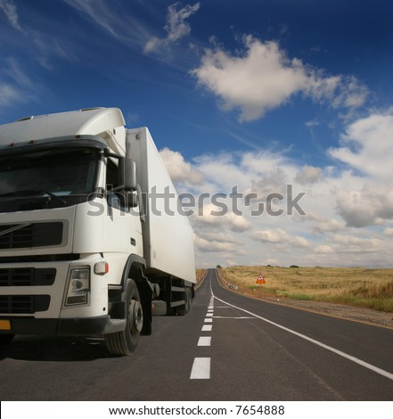 The lorry on a road - stock photo