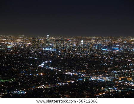 The Los Angeles Basin at night.  View from top of Mt Hollywood. - stock photo