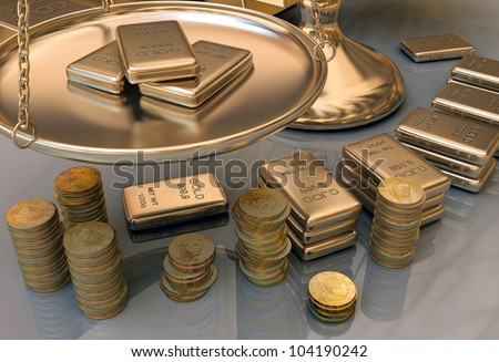 The lot of gold bars - stock photo
