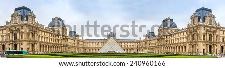 The Louvre is one of the world's largest museums and a historic monument in Paris - stock photo