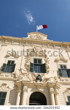 The lovely proportionate Auberge de Castille is a baroque palace in Valletta, currently the offices of the Prime Minister of Malta. - stock photo