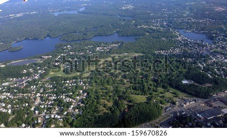 The low-lying colonial setting outside Boston, Massachusetts - stock photo