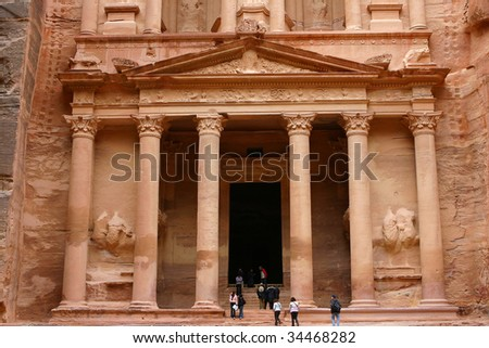 the lower detail of Treasury of Petra, the most famose Jordan Temple of the world. - stock photo