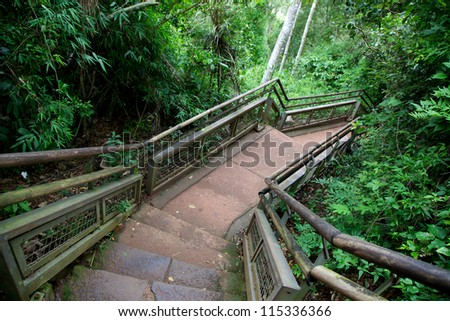 The lower trail in Iguazu National Park, Argentina - stock photo