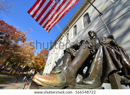 The Lucky Shoe of John Harvard - stock photo
