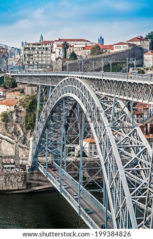 the Luis bridge built by Eiffel in Porto, Portugal - stock photo
